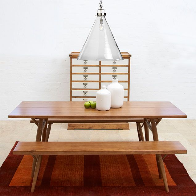 Scandinavian Ash Timber Pica Table & Benches // Felix Hand-Blown Glass Pendant Light // Buy at Schots in Melbourne, Australia