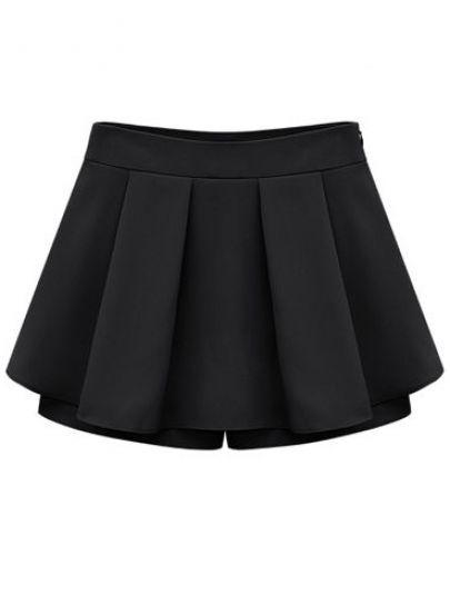 Black Mid Waist Pleated Chiffon Skirt Shorts