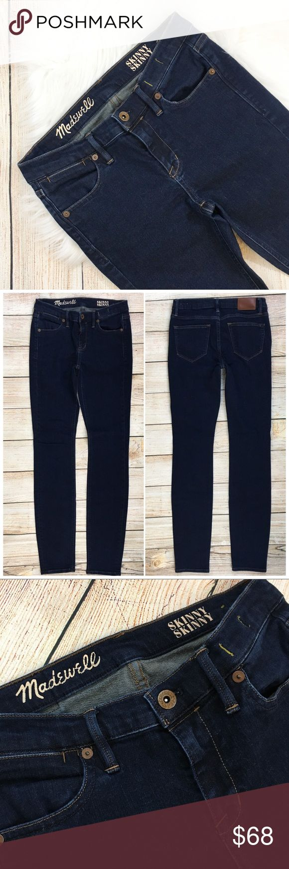 "{Madewell} Indigo Wash Skinny Skinny Denim Jeans BRAND: Madewell ITEM: Indigo Wash Skinny Skinny Jeans FEATURES: Zip Fly FABRIC: 93% Cotton, 6% Polyester, 1% Spandex  SIZE: 26  CONDITION: Pre-Owned/EUC  MEASUREMENTS Waist: 14"" Inseam: 31"" Rise: 8""  PLEASE NOTE: Measurements are approximate and taken while item is laying flat  ALL ITEMS SHIP FROM SMOKE FREE HOME. NO Trades. NO Holds. NO PayPal. NO Lowball Offers. Offer Button Only. Madewell Jeans Skinny"