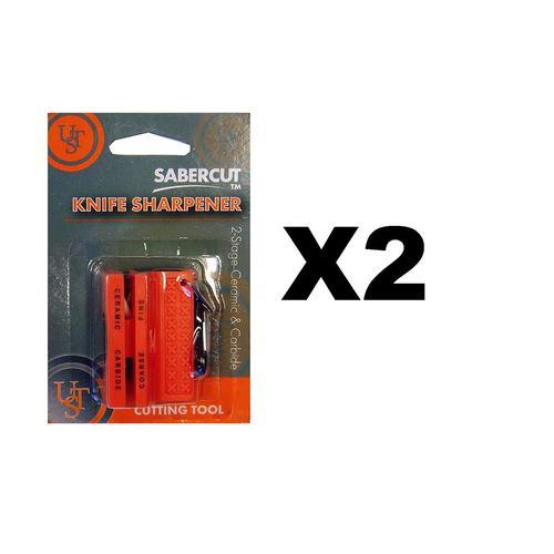 Ultimate Survival Technologies Ceramic Knife Sharpener Orange w/Carbide (2-Pack)