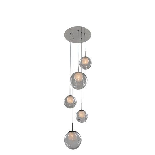Meteor Chrome 5-Light 15-Inch Pendant with Clear Glass