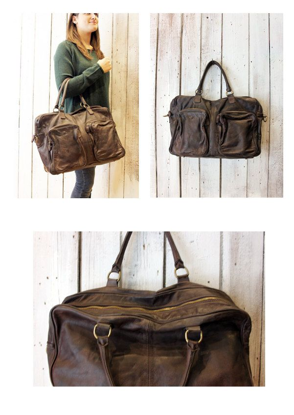 TASC bag 3 -Handmade Italian Brown Leather Messenger Bag di LaSellerieLimited su Etsy