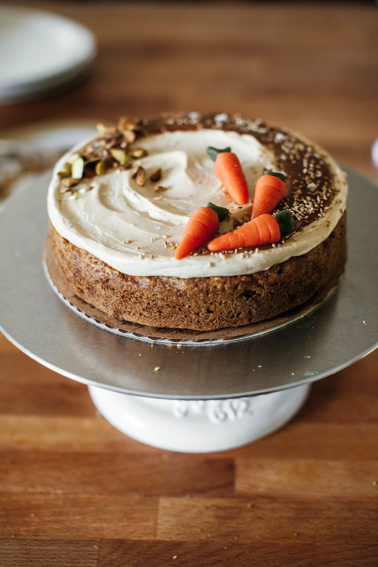 carrot cake with hawaij + tahini caramel frosting | my name is yeh