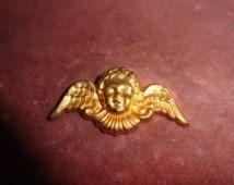 5 Pcs.Miriam Haskell Vintage RGP Brass Cherubs Head Findings.