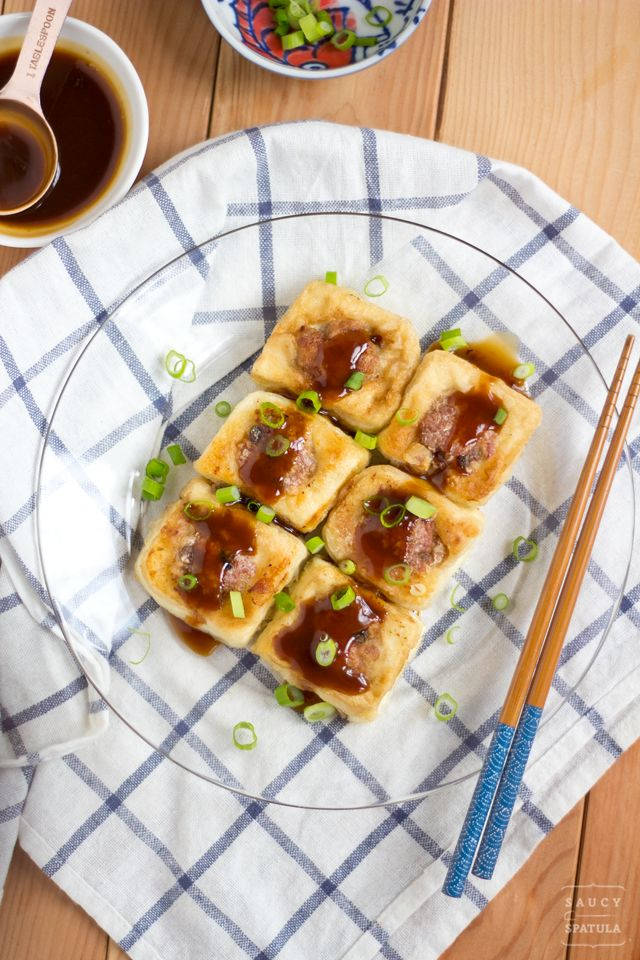 Stuffed Tofu (釀豆腐) - Slightly crispy on the outside and soft on the inside - a classic Hakka/Cantonese crossover that has made its way into mainstream and now can be found easily on any dim sum menu | www.saucy-spatula.com