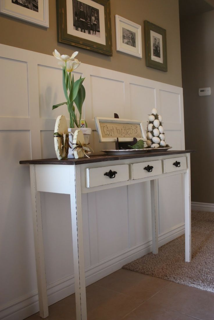 entry table.  Love the white on the walls would love to do this!
