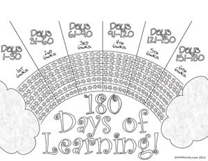 Attendance chart 180 days! This would be great in their quality binders.