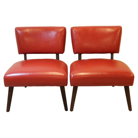 Pair Of Mid Century Side Chairs Upholstered In The Original Red Leather.  Product:
