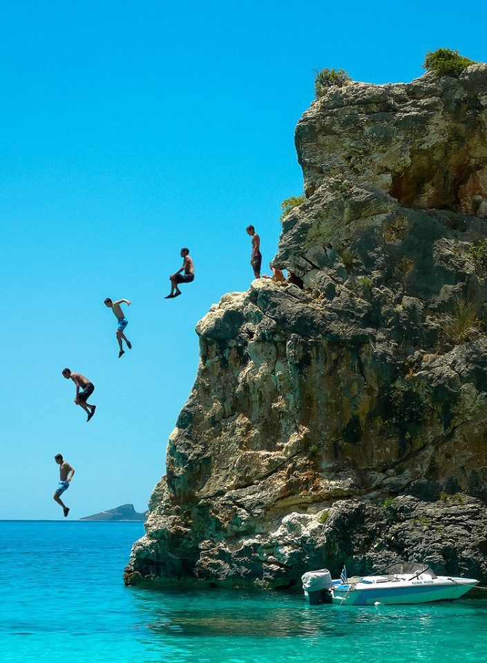 Cliff jumping ~ Agiofili beach, Lefkada