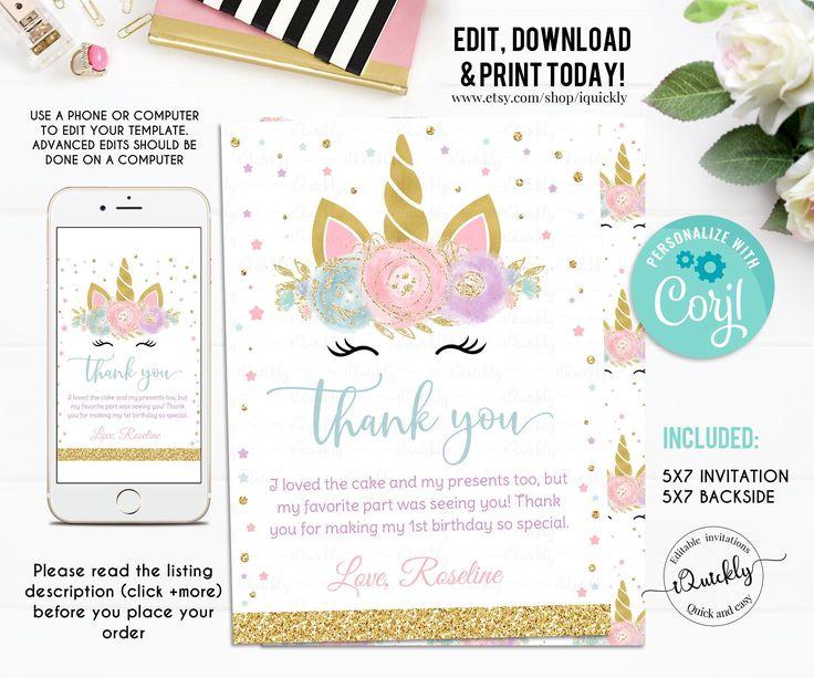 editable unicorn thank you card magical unicorn first