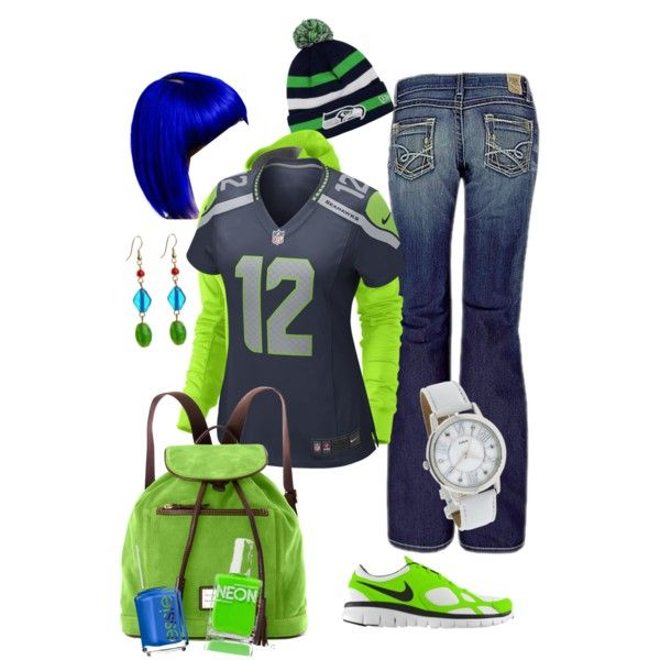 If only i was a football fan, i could rock that blue wig! Seahawk game day - Polyvore