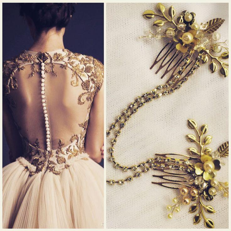 Купить Двойной гребень. Украшение в прическу - свадебное украшение, свадебный аксессуар, гребни, гребень для волос,свадебный гребень,украшение невесты,золотой гребень,свадебное украшение