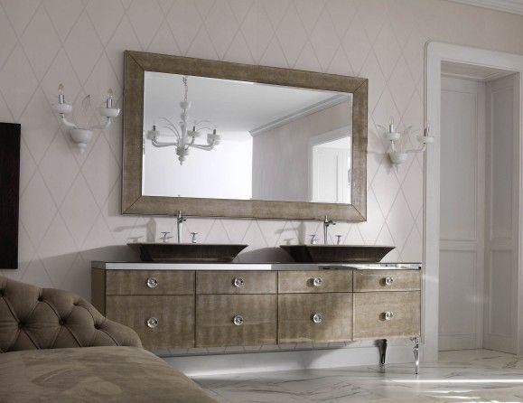 Milldue Majestic 02 Gold Aligator Glass High End Italian Bathroom Vanities