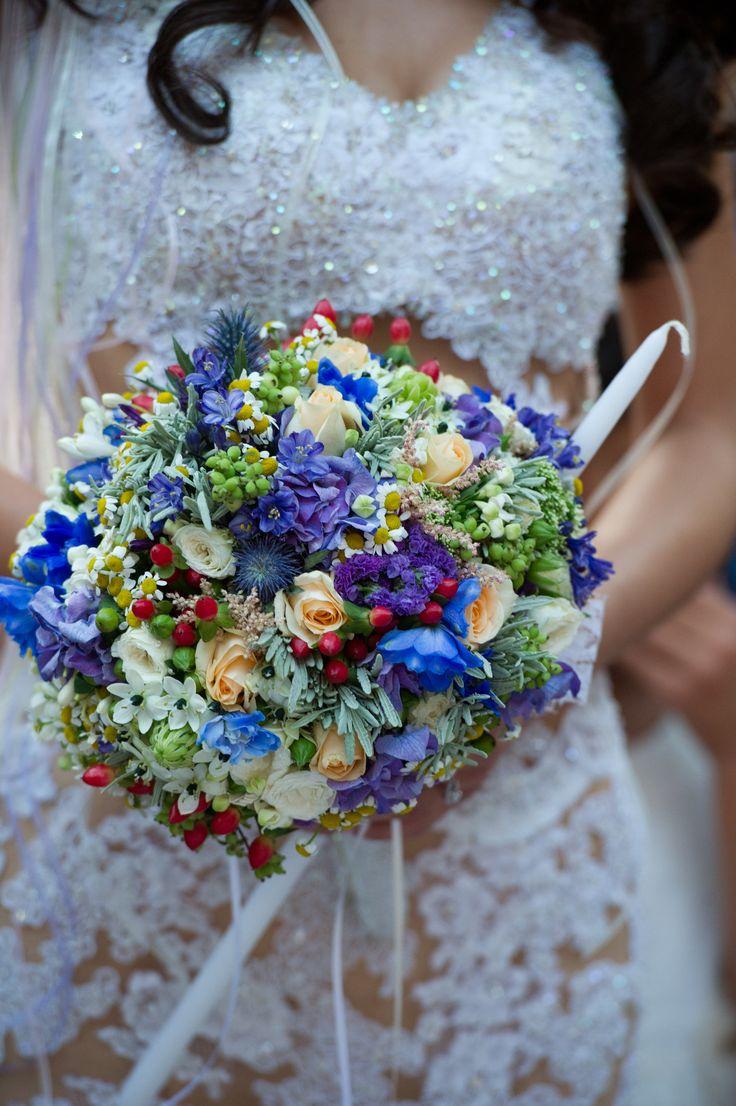 Bride bouquet bright wild flowers, blue, purple theme