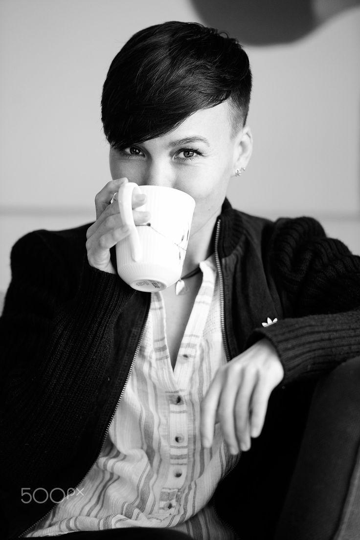 Happy coffee - Gorgeous Celia #portrait #bw #monochrome #blackandwhite #young #woman #beautiful #royalcopenhagen #danish #design #coffee #mug #smile #beautiful #eyes #shorthair #blackhair #fashion