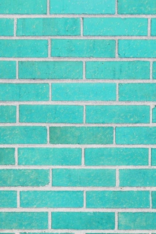 Gorgeous aqua turquoise blue brick wall iphone wallpaper for Blue wallpaper for walls