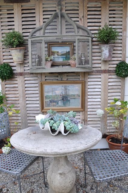 shutters, shutters...shutters. yes.Gardens Ideas, Old Shutters, Courtyards Design, Outdoor Patios, Herbs Gardens, Patios Ideas, Outdoor Area, Patios Tables, Old Stuff