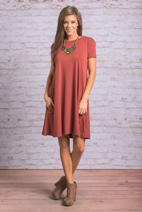 """Always Have You Piko Dress, Rust"" You will always have this fab Piko dress to fall back on! It will always be there to me you feel just as good as you look and look just as good as you feel! #newarrivals #shopthemint"