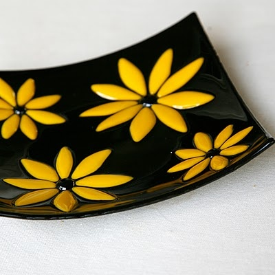 Elegant slumped fused glass plate.  Www.sassyglassstudio.blogspot.com