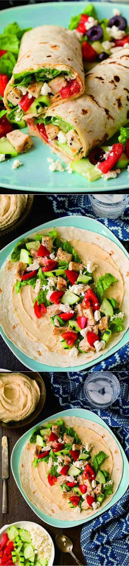 Greek Grilled Chicken & Hummus Wrap - black pepper, cheese, chicken, cucumber, healthy, recipes, tomato, tortillas