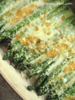 Asparagus baked with olive oil, sea salt, and Parmesan cheese.