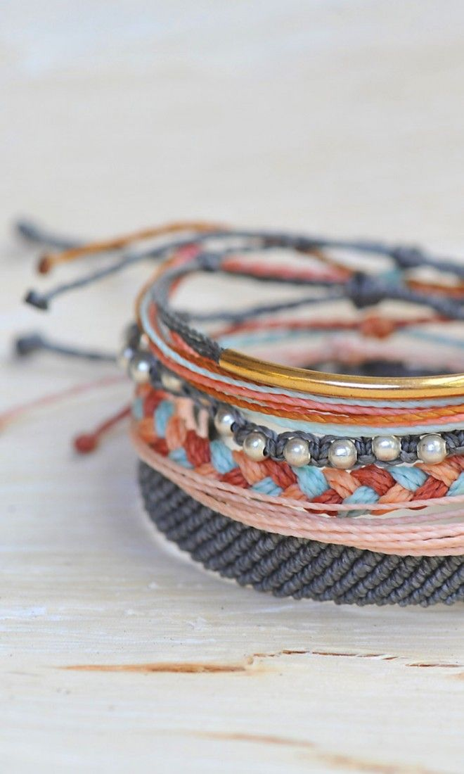 Spring Accessories - Grey, Coral, and Gold Style Packs from Pura Vida Bracelets