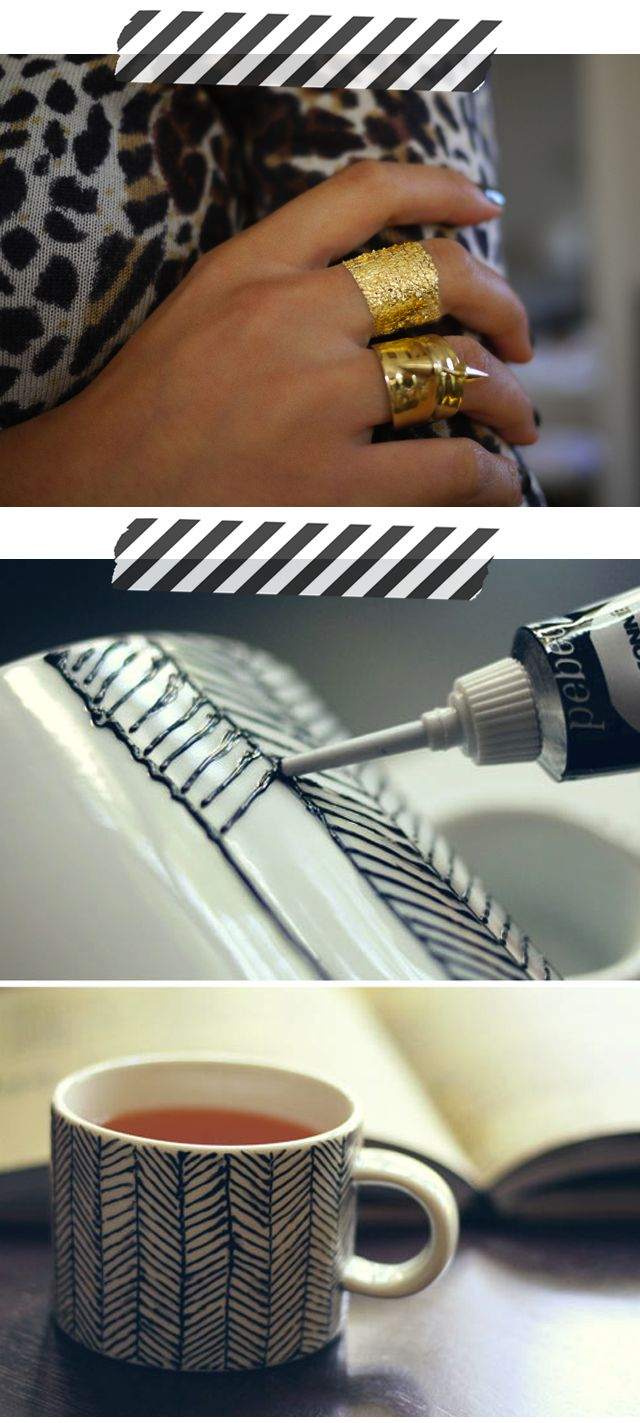 DIY Gold Leaf Faux Jewelry + DIY Chevrons Hand Painted Mug
