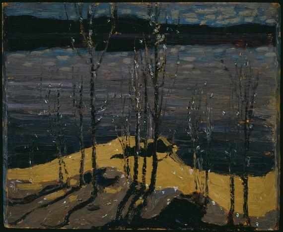 tom thomson - moonlight + birches (1915)