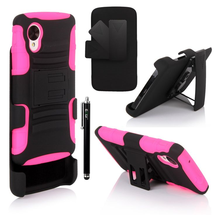Nexus 5 Case, Google Nexus 5 Case - E LV Google Nexus 5 Shock-Absorption / High Impact Resistant Hybrid Dual Layer Armor Defender Full Body Protective Case Cover for Google Nexus 5 (Nexus 5, Hot Pink)