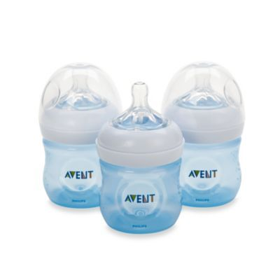 AVENT Natural 4-Ounce Bottle in Blue (3-Pack) - BedBathandBeyond.com