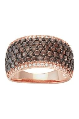 Rose Gold Plated Silver Round-Cut Pave Chocolate Ring ~ $34.97