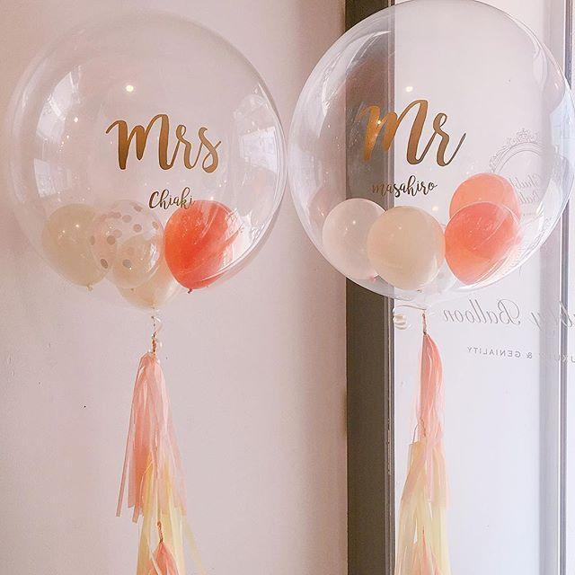 こんにちは! チャビーバルーンです☺︎ ウェディングで大人気の Mr&Mrsのバルーン、 新婦様のドレスがオレンジということで バ...