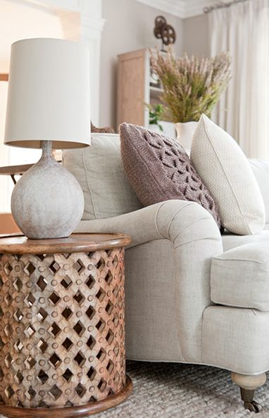 Suzie: The Elegant Abode - So pretty! Off-white pale gray linen sofa with caster legs, ...