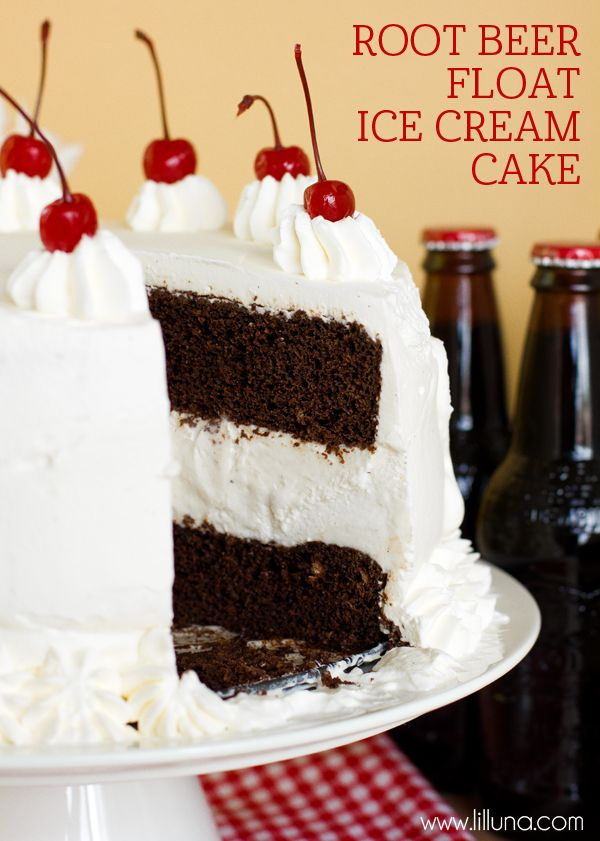 Delicious Root Beer Float Ice Cream Cake recipe on { lilluna.com }: Root Beer Ice Cream, Cake Recipe, Float Ice, Root Beer Floats, Beer Cakes, Root Beer Cupcakes, Ice Cream Cakes, Birthday Cake, Root Beer Float Cupcakes