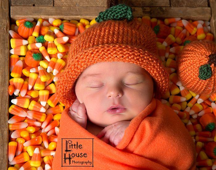 Halloween, Newborn , Photography, Cute, Candy Corn, Fall, Autumn, Pumpkin, Little House Photography
