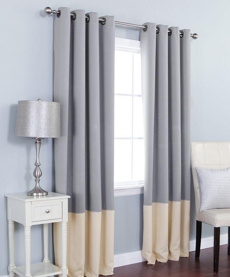 Gray Beige Color Block Blackout Curtain Panel Set Of