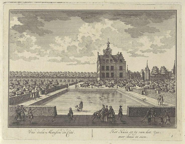 Gezicht op Kasteel Zuilenstein vanuit het zomerhuis, Daniël Stopendaal, 1682 - 1726