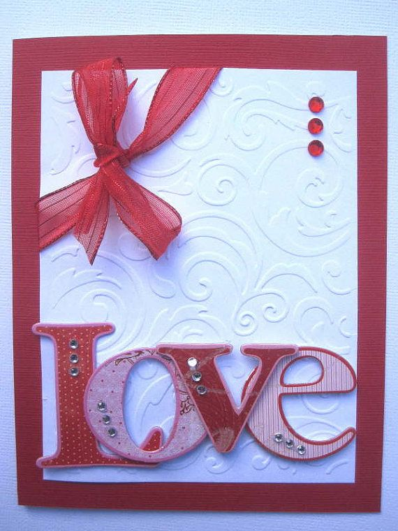 Handmade Valentines Day card Love and by BellaCardCreations, $3.95