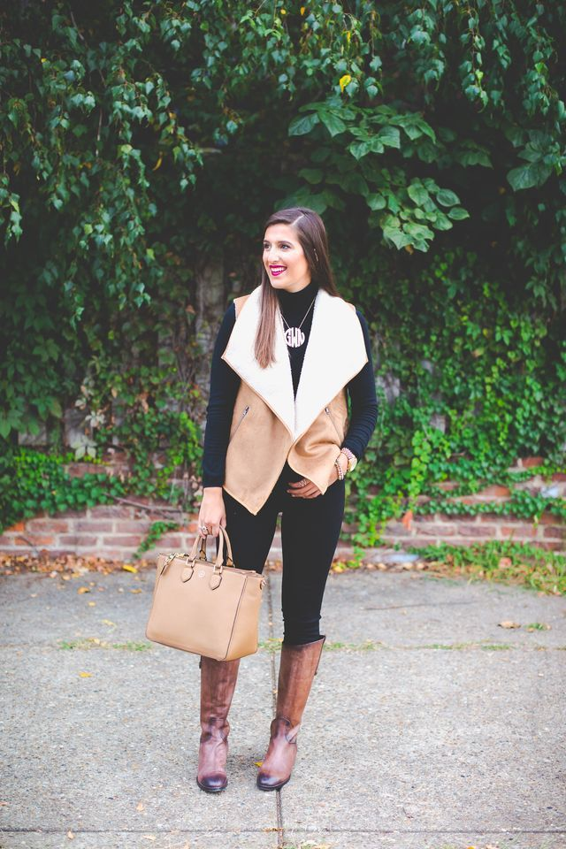Shearling Vest - I would love to try a vest like this! I like it with all black.