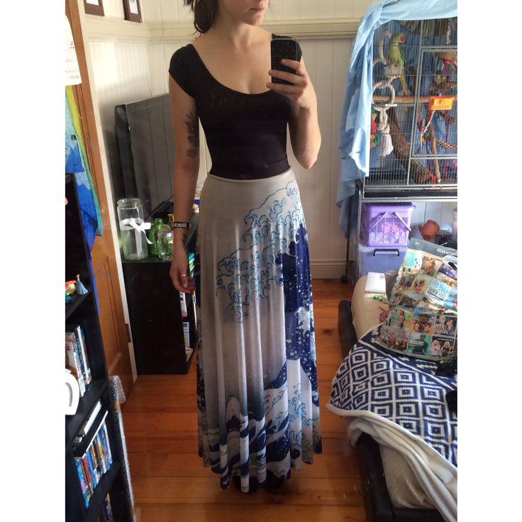 Black Milk XS Great Wave Sheer Maxi Skirt - Sample picked up from Sharkiecon 2014