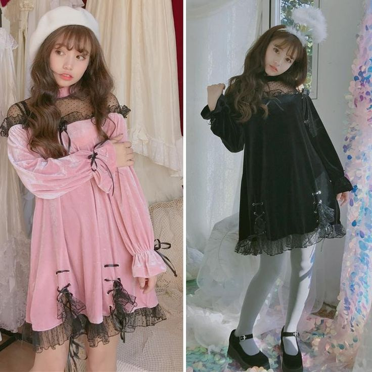 Japanese Harajuku Black&Pink Lace Dress