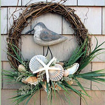 Treat yourself or a friend to our Unique and Distinctive Gifts and Jewelry ~ Inspired by the Sea - Shell Bird Wreath