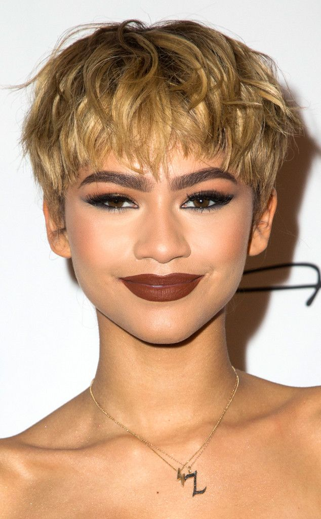 Zendaya Rocks Blond Pixie Cut and Black Strapless Dress at Shoe Collection Launch Event | E! Online
