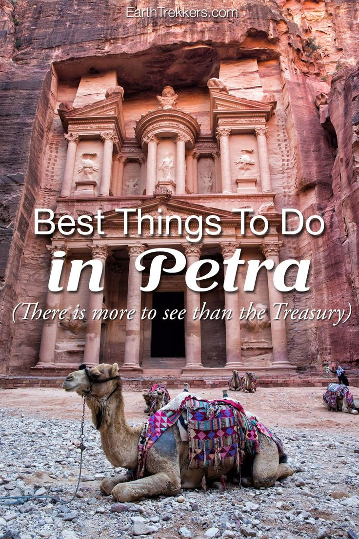 Petra, Jordan: the best things to do. There is more to see than the Treasury. Visit the awesome Monastery, get a bird's eye view from the High Place of Sacrifice, ride a camel, and meet the Bedoin people.
