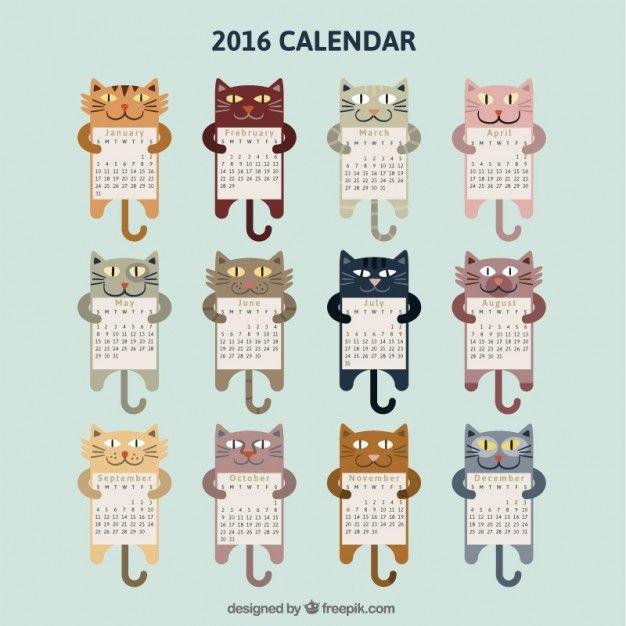 Calendário gatos 2016 para imprimir