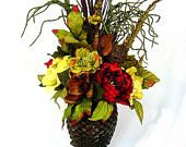 Williamsburg Old World Tuscan Centerpiece Silk Floral Arrangement footed Pineapple Urn 4 Season  decor 36 in tall by Cabin Cove Creations