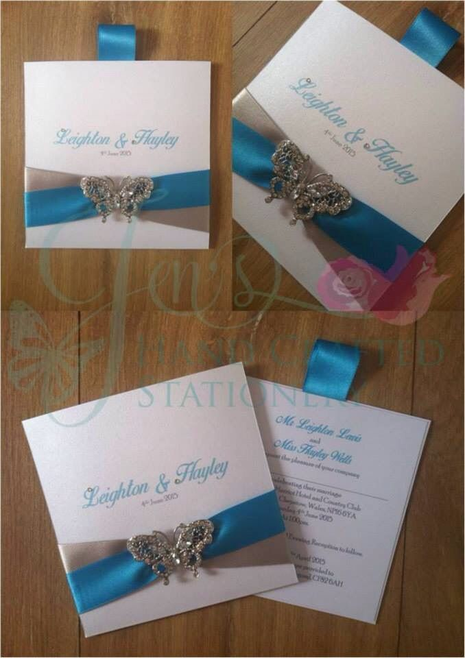 handmade wedding cards ireland%0A Turquoise and silver grey wallet wedding invitation with diamant   butterfly  embellishment www jenshandcraftedstationery co