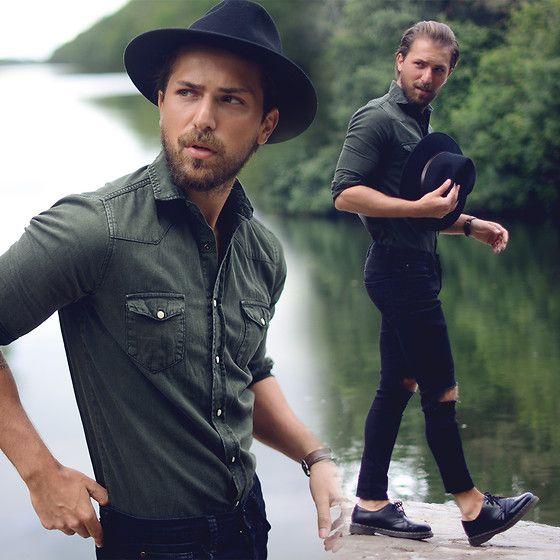 Asos Hat, Zara Shirt, H&M Jeans, Dr. Martens Shoes