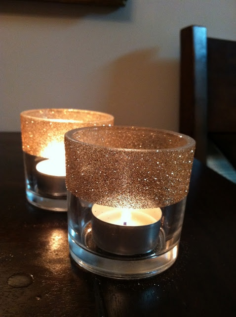 Diy glitter tealight votive candle holders spray on for Used candle holders