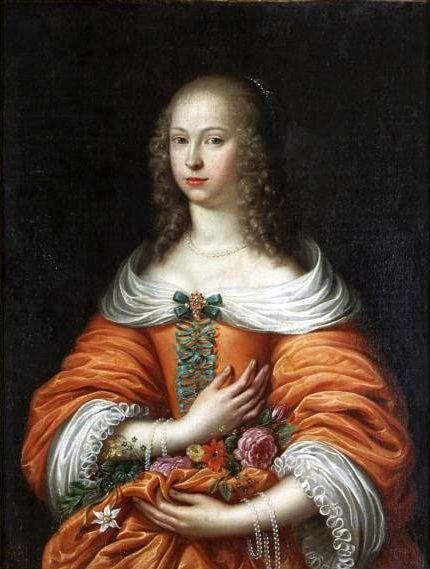 Caspar Netscher - Portret van Anna Maria Radziwiłł